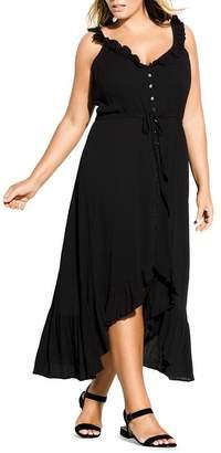 City Chic Plus Sleeveless Ruffled Maxi Dress