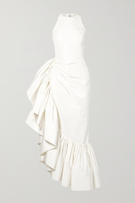 Rosie Assoulin Whoopsy Daisy Asymmetric Ruffled Silk-charmeuse Gown - White