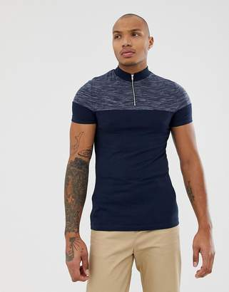 2c5ccecf7 Asos Design DESIGN muscle fit t-shirt with turtle zip neck and contrast yoke  in