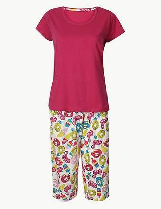 Marks and Spencer Pure Cotton Summer Cropped Pyjama Set