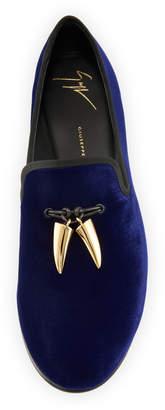 Giuseppe Zanotti Men's Velvet Formal Loafer with Golden Horns