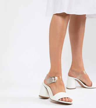 Asos Design DESIGN Humming Bird Wide Fit Mid Block Heeled Sandals