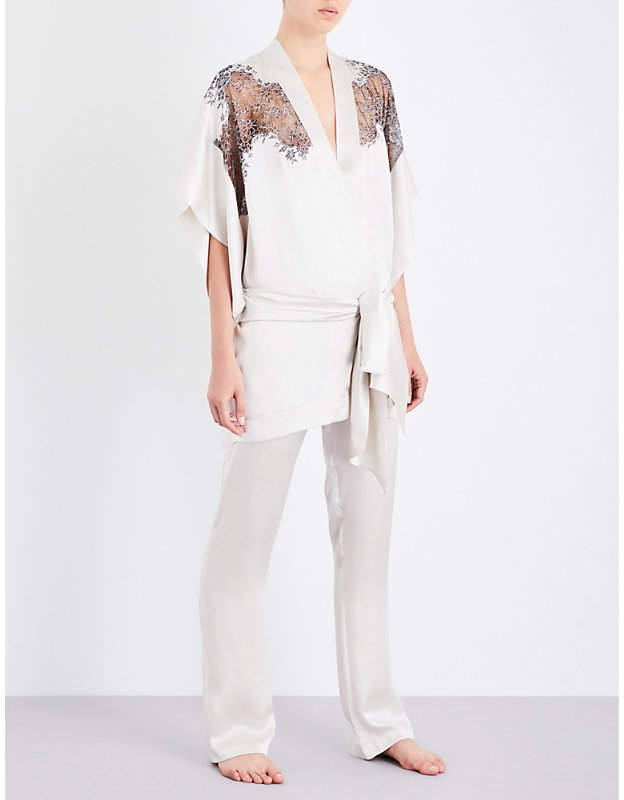 Carine Gilson Chantilly lace-trim silk-satin kimono robe