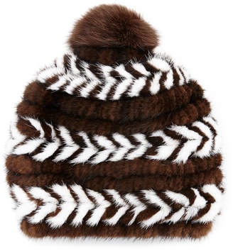 Surell Mink Fur Beanie Hat, Brown/White