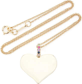 The Last Line 14K Gold Heart Pendant With Rainbow Bail