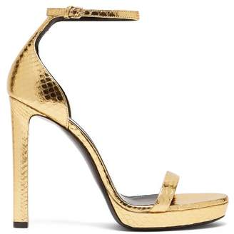 Saint Laurent Hall 100 Metallic Snakeskin Platform Sandals - Womens - Gold