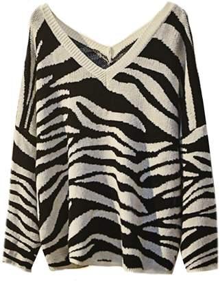 e827306289e14 ... Goodnight Macaroon  Madeline  Zebra Print V-Neck Sweater (3 Colors) Plus