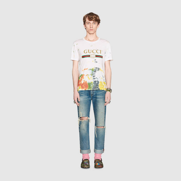 Cotton tie-dye t-shirt with Gucci print 5