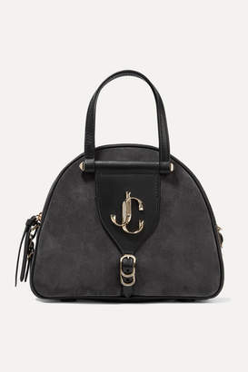Jimmy Choo Varenne Leather-trimmed Suede Tote - Charcoal