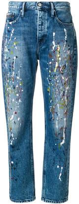 Calvin Klein Jeans paint splattered mom jeans
