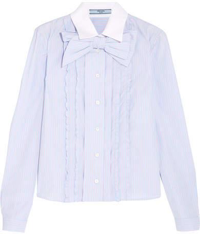 Prada - Bow-embellished Ruffled Striped Cotton Shirt - Sky blue