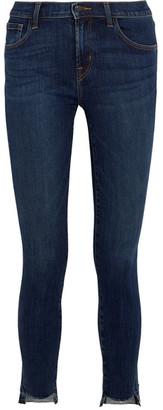 J Brand - 811 Frayed Mid-rise Skinny Jeans - Mid denim $200 thestylecure.com