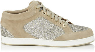 Jimmy Choo MIAMI Chai Shadow Coarse Glitter Fabric and Suede Sneakers