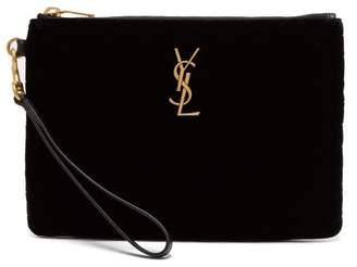 Saint Laurent Lou Quilted Velvet Clutch Bag - Womens - Black