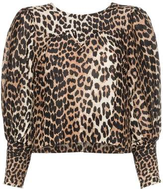 12acb8fb6885c Ganni leopard print tie back long-sleeved blouse