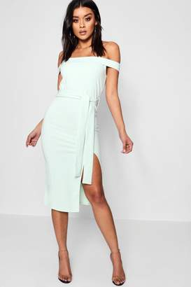 boohoo Bardot Tie Waist Split Detail Midi Dress