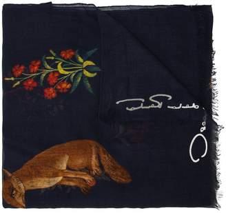 Oscar de la Renta flora fauna printed scarf