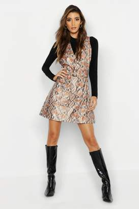 boohoo Snake Print Faux Leather Belted Dress