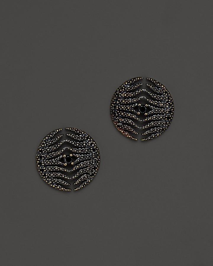 Mizuki 14K Yellow Gold Feather Medallion Earrings with Black Diamonds