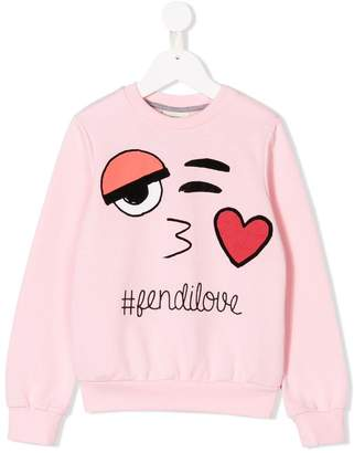 Fendi fendilove embroidery sweatshirt