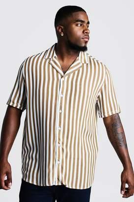 boohoo Big & Tall Revere Collar Stripe Shirt