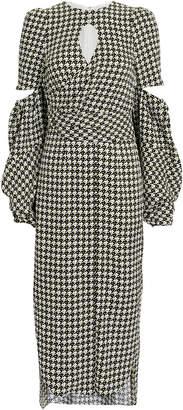 Hellessy Blair Houndstooth Lantern Sleeve Dress