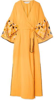 Sensi Studio - Embroidered Crinkled-cotton Wrap Dress - Mustard