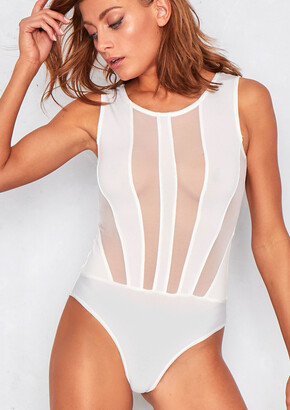 885426999f Missy Empire Missyempire Ariel White Mesh Panel Sleeveless Bodysuit
