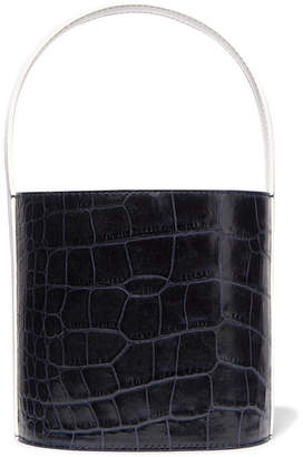STAUD - Bissett Croc-effect And Smooth Leather Bucket Bag - Navy