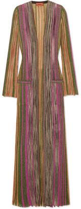 Missoni Striped Metallic Ribbed-knit Cardigan - Green