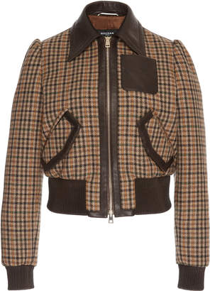Rochas Wool Check Bomber Jacket