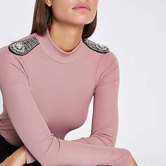 River Island Womens Light Pink diamante embellished shoulder top