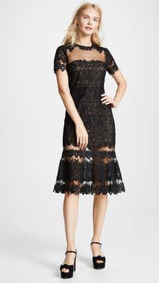 Jonathan Simkhai Guipure Lace Sheer Ruffle Dress