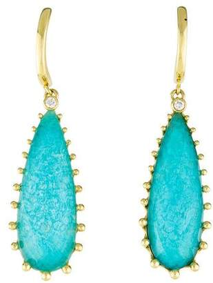 Frederic Sage 18K Quartz, Turquoise & Diamond Drop Earrings