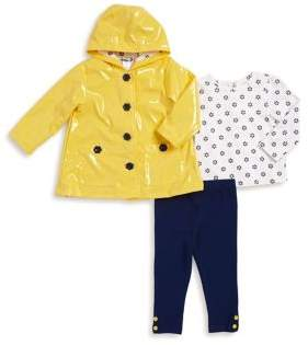 Little Me Baby Girl's Three-Piece Jacket, Leggings and Printed Top Set