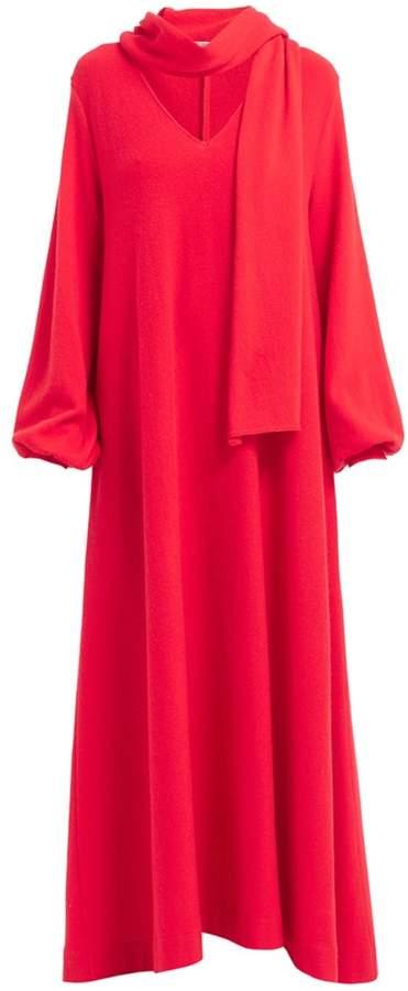 WtR - Lifar Red Wool & Cashmere Scarf Neck Maxi Dress