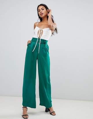 Bershka wide leg pants with dring tie in green