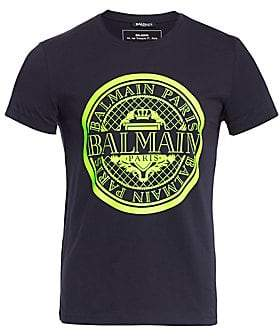 Balmain Men's Coin Flocked Logo Graphic T-shirt