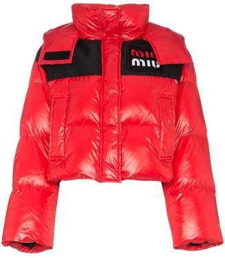 Miu Miu logo cropped puffer jacket