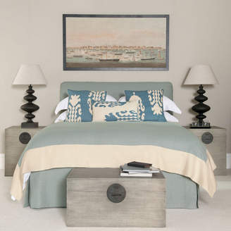OKA Bed Valance 100% Linen in Blue, King Size