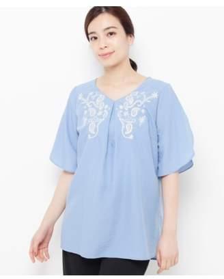 smartpink (スマートピンク) - スマートピンク [洗える]スパンローン ペイズリー刺しゅうシャツ