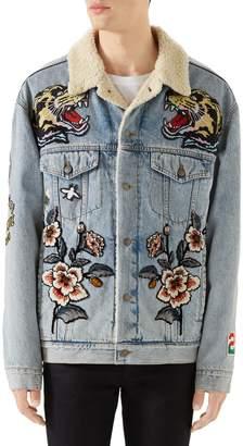 Gucci Fleece Lined Embroidered Denim Jacket