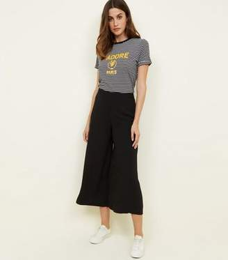 New Look Black Cropped Wide Leg Trousers