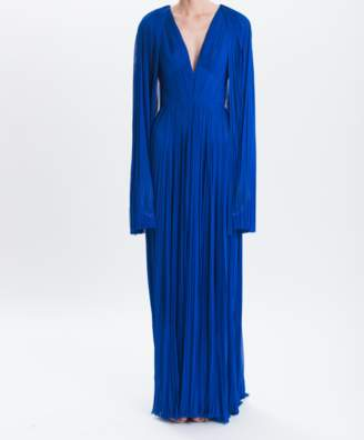 J. Mendel Cobalt Mousseline Hand-pleated Gown