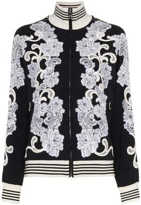 Dolce & Gabbana lace embellished track top