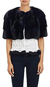 LILLY e VIOLETTA Women's Mink Mini-Bolero Sarah Jacket-Navy