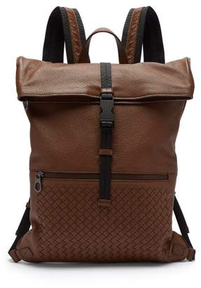 Bottega Veneta Intrecciato Fold Over Leather Backpack - Mens - Dark Brown