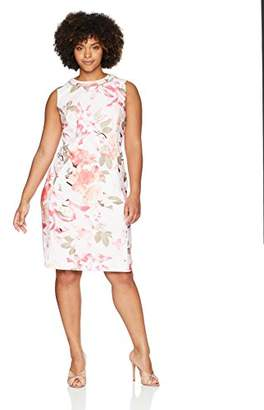 Calvin Klein Women's Plus Size Printed Sheath Dress with Pearls at Neck