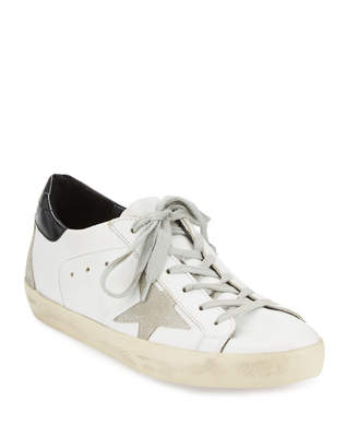 Golden Goose Distressed Leather Sneakers, White Pattern