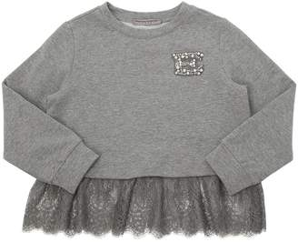 Ermanno Scervino Cotton & Lace Sweatshirt W/ Crystals